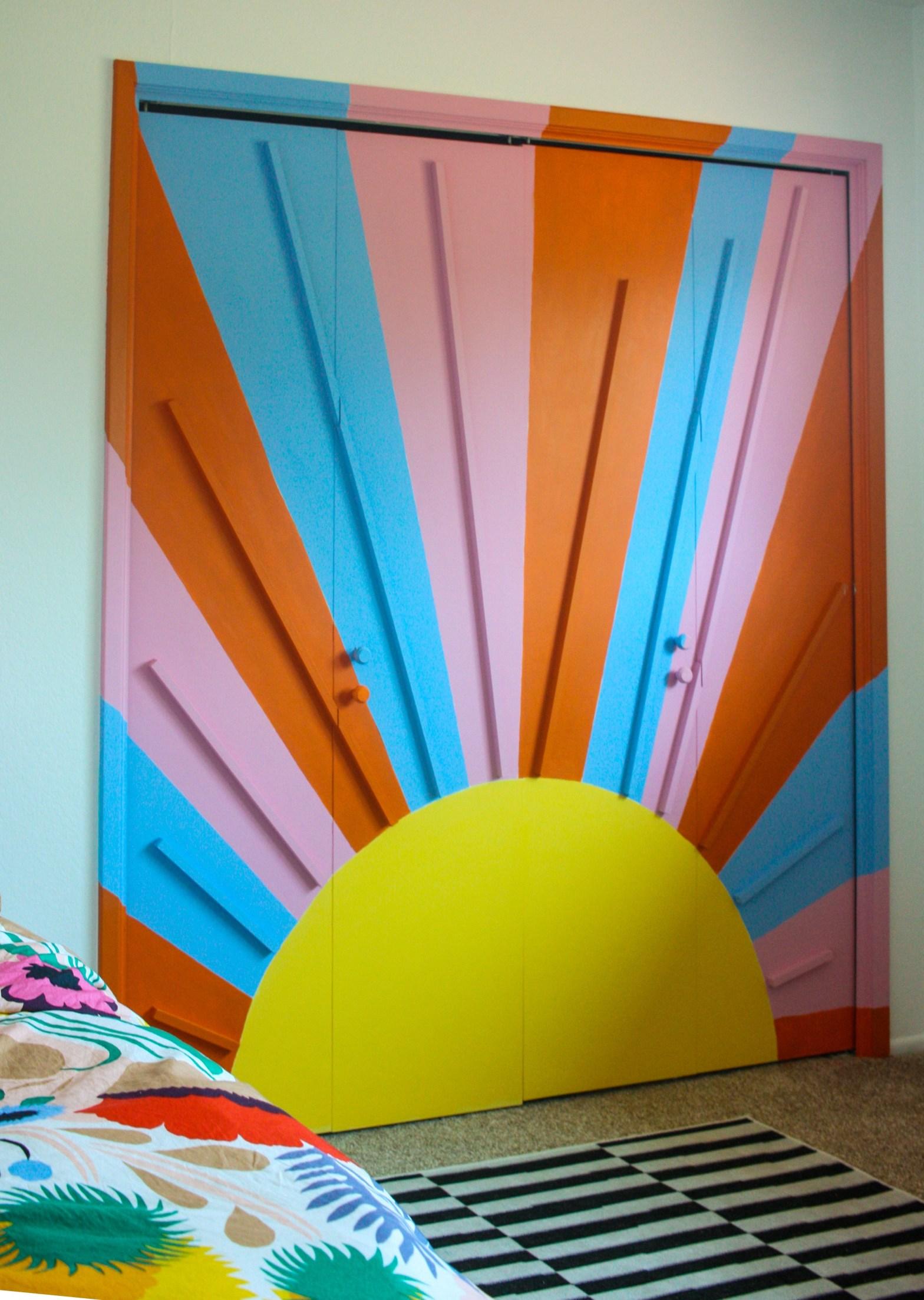 DIY Rainbow Sunburst Mural