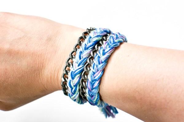 DIY Braided Thread and Chain Wrap Bracelet Tutorial