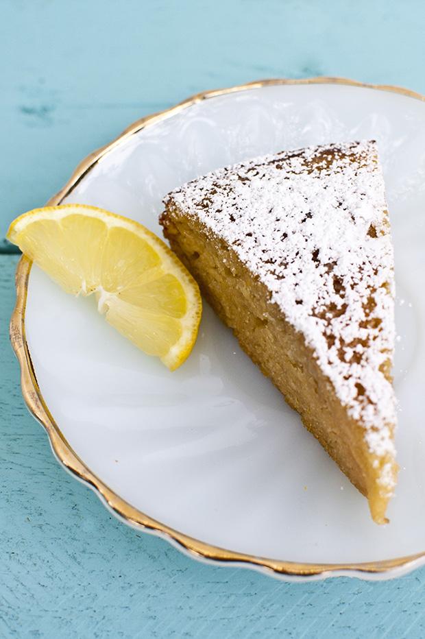 Lemon Almond Yogurt Cake with Rhubarb Compote (Gluten-Free)