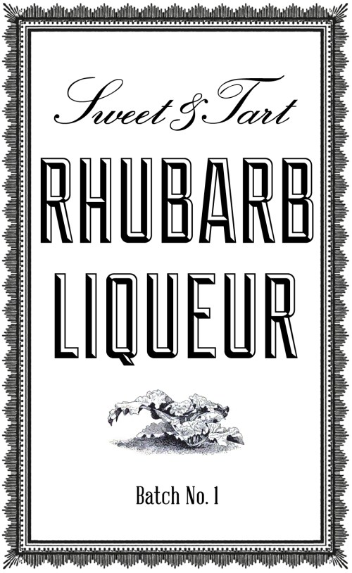 Label for making your own DIY rhubarb liqueur with this easy recipe. Makes a great base for cocktails! #rhubarb #cocktails