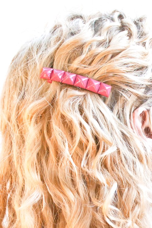 DIY colorful studded barrette tutorial