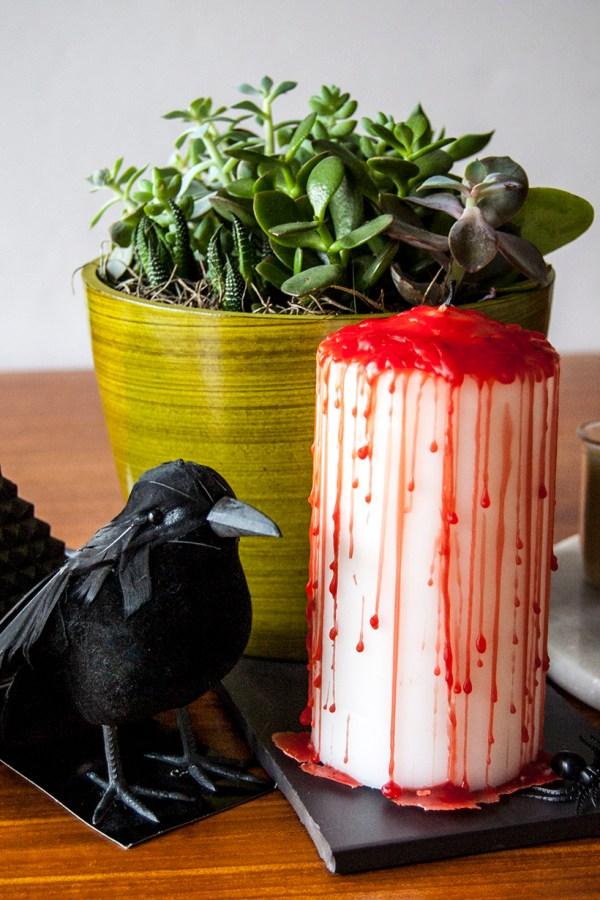 DIY Bloody Halloween Candle