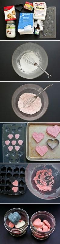 DIY Valentine's Day heart bath bombs