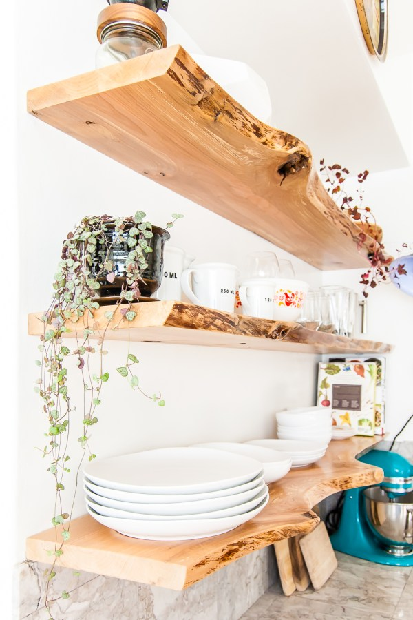 My Kitchen Makeover Featuring Live-Edge Floating Shelves