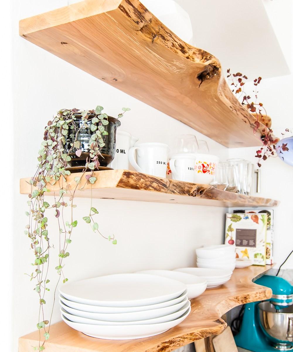 Kitchen Shelf Edging: Kitchen Floating Live-Edge Shelves