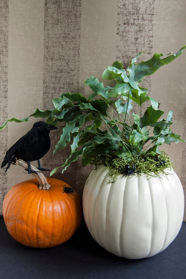 Faux Pumpkin Planter for Halloween or Thanksgiving