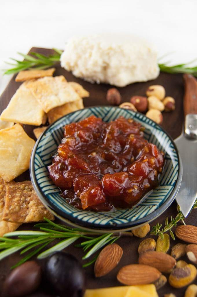Tomato jam is a delicious spread that makes a great addition to a summer cheese board.