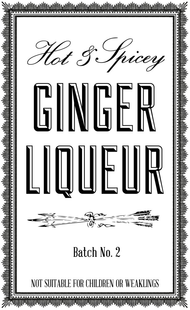 DIY ginger liqueur label