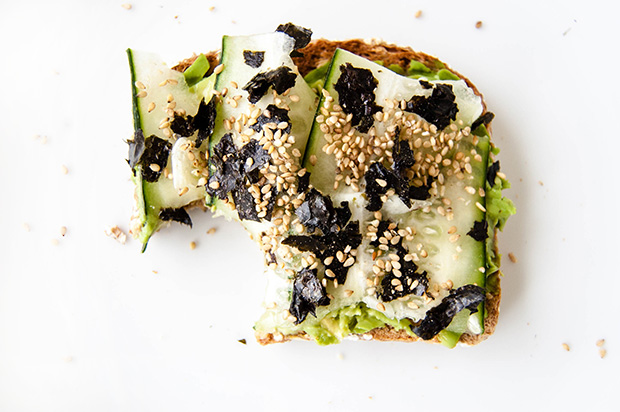 Seaweed, Cucumber, and Sesame Seed Avocado Toast