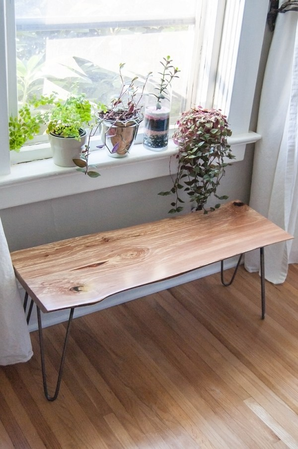 DIY Live-Edge Wood Bench with Hairpin Legs
