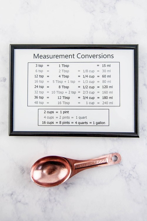 Free printable kitchen measurement conversion chart - Keep common kitchen measurement conversions handy with this minimalist chart.