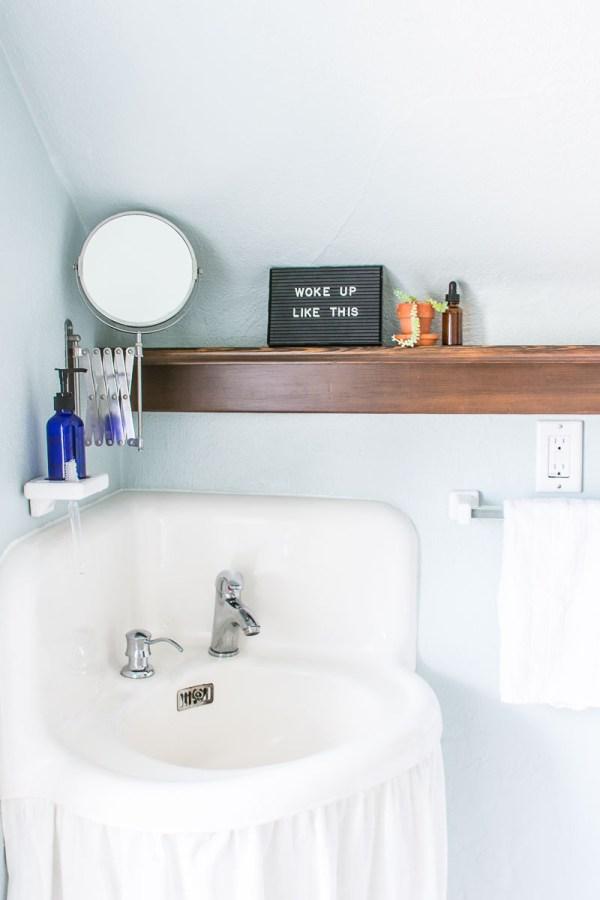 Medical Cabinet + Wood Shelf Bathroom Makeover