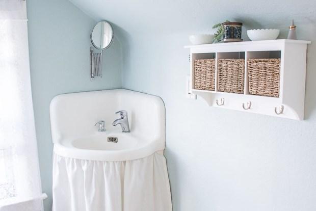 Salvaged vintage bathroom corner sink