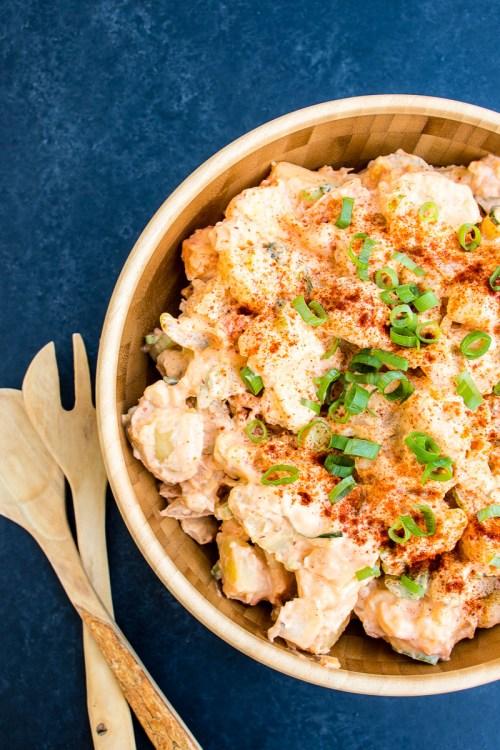 Kimchi potato salad upgrades classic American potato salad with the addition of spicy kimchi
