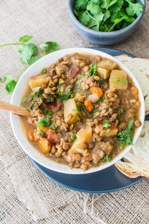 Vegan Slow Cooker Lentil, Kale, and Carrot Curry - Throw everything in a slow cooker, leave it alone, and enjoy delicious, filling curry for dinner.