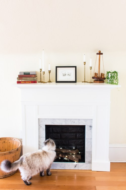 Lovely DIY Faux Fireplace Mantel with Tile and Faux Brick YH76