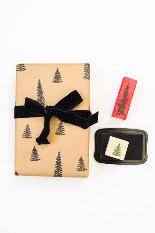 Personalize your presents with DIY stamped wrapping paper. #DIY #gift #christmas #holidays