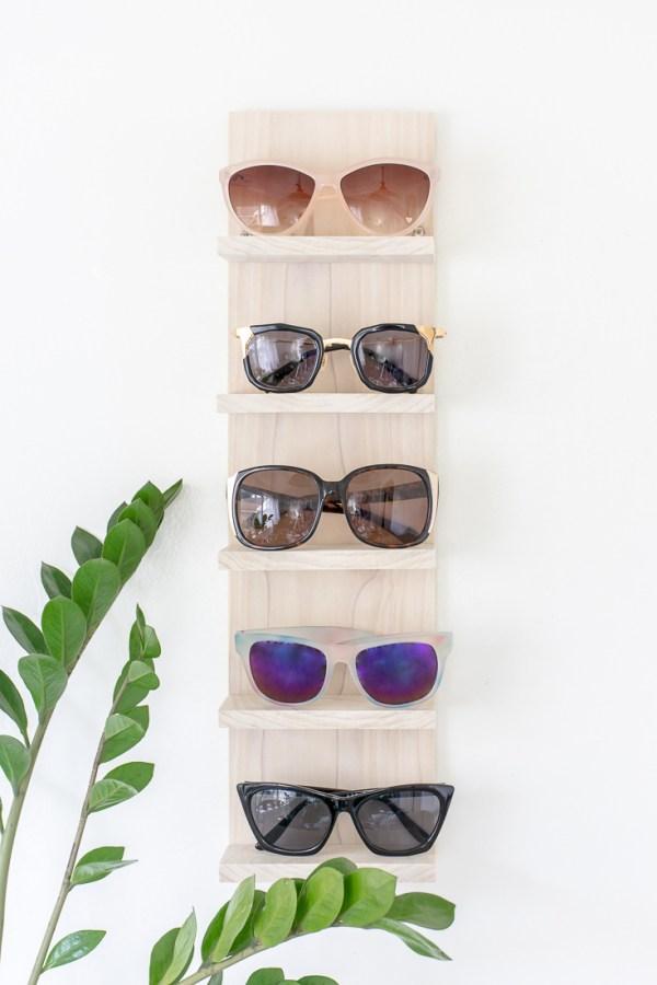 Declutter with a DIY Sunglasses Organizer Shelf