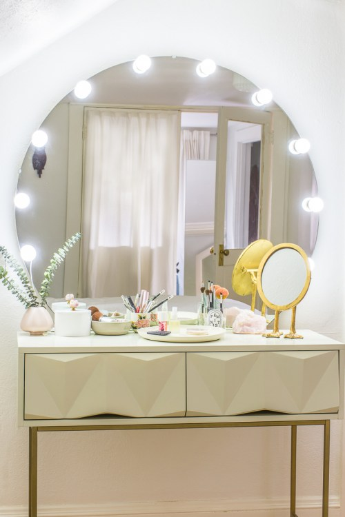 Learn How To Turn A Desk Into A Makeup Table With Light Up Vanity Mirror