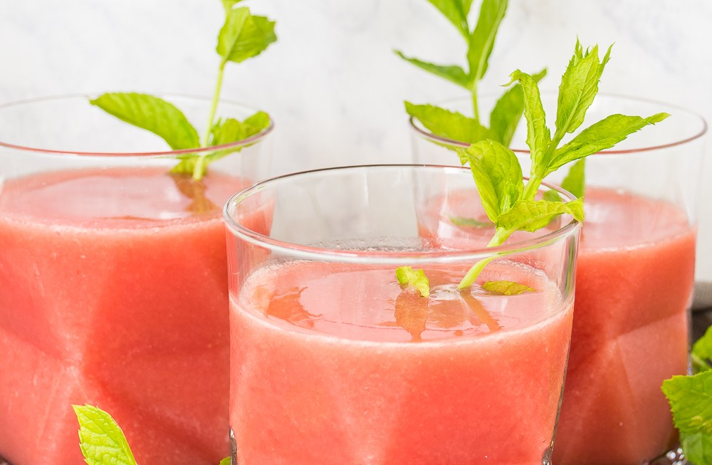 This strawberry watermelon frose, made from rose wine and frozen fruit, is the summer cocktail you've been looking for. #rose #frose #cocktail