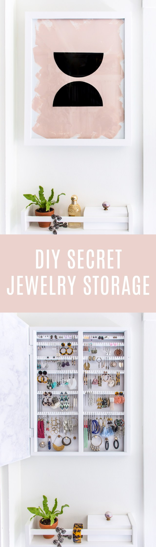 Need to store jewelry, but don't want it all out in the open? Build your own secret jewelry storage hidden behind art! #DIY #decor #homedeor #art