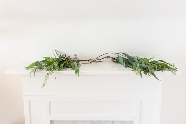 Fall mantel with eucalyptus