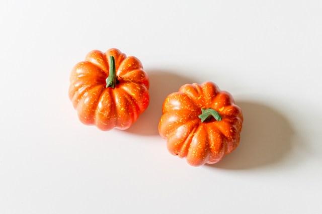Fake plastic orange pumpkins