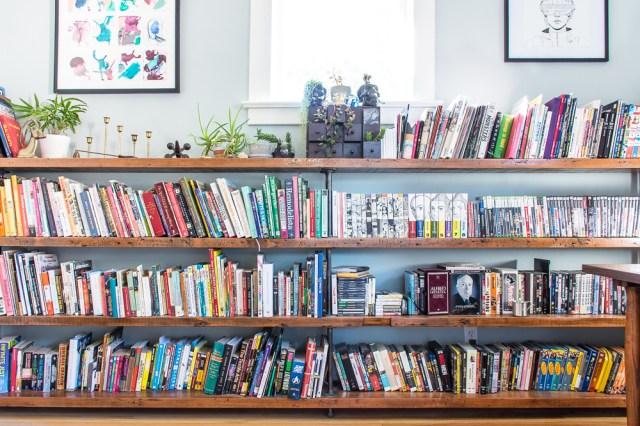 Custom pipe bookshelves