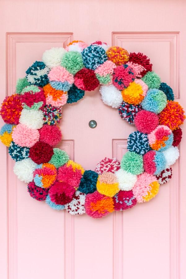 DIY Pom-Pom Holiday Wreath