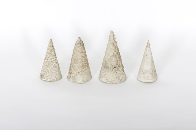 Learn how to make your own #DIY mini concrete Christmas trees with lace imprints.