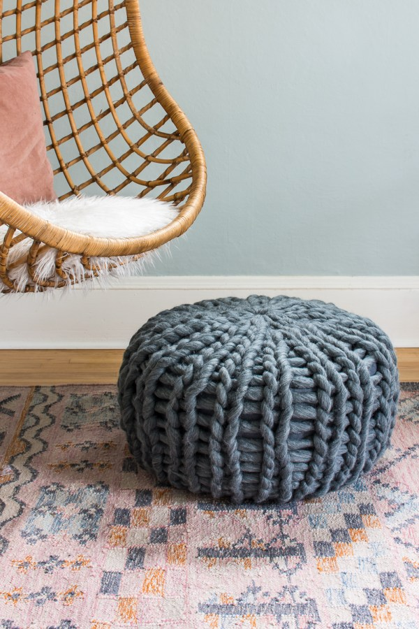 My Pouf Makeover: How to Re-Cover a Leather Pouf