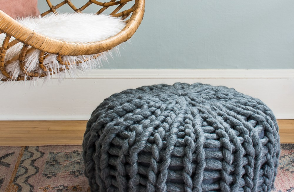 Learn how to re-cover a leather pouf to turn it into a cozy knit version.