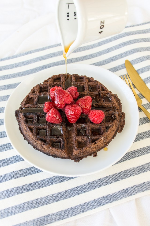 Decadent (but made with whole wheat flour) vegan chocolate waffles make an amazing weekend breakfast.
