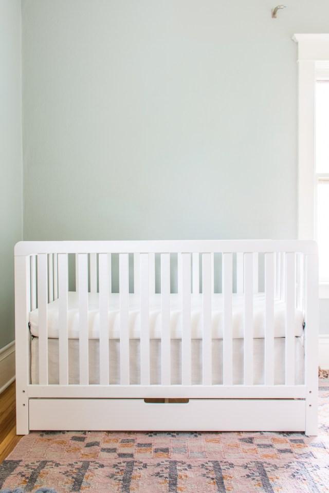 Crib with DIY skirt