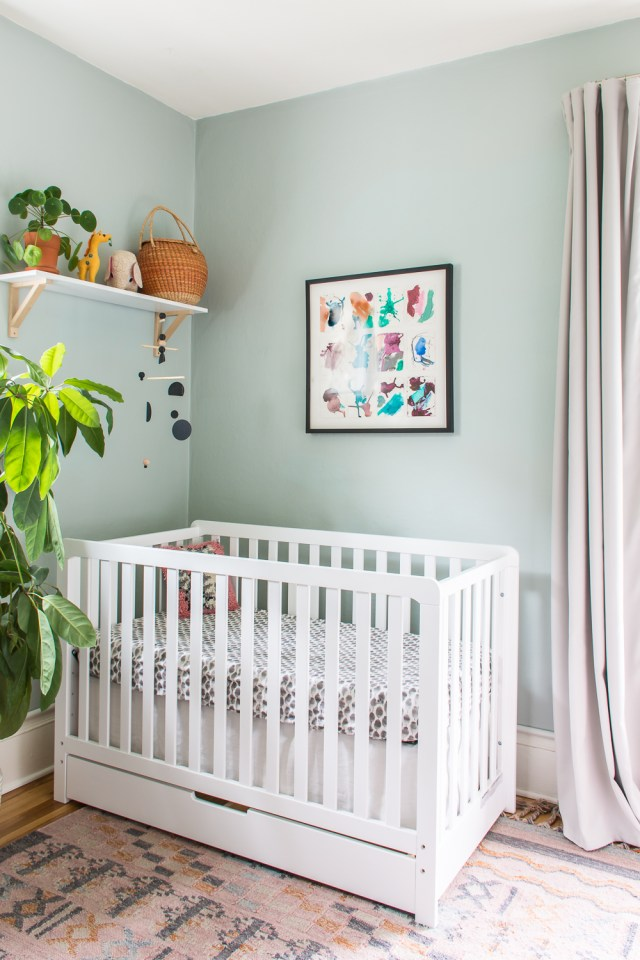 Blue, pink, and terracotta gender-neutral nursery