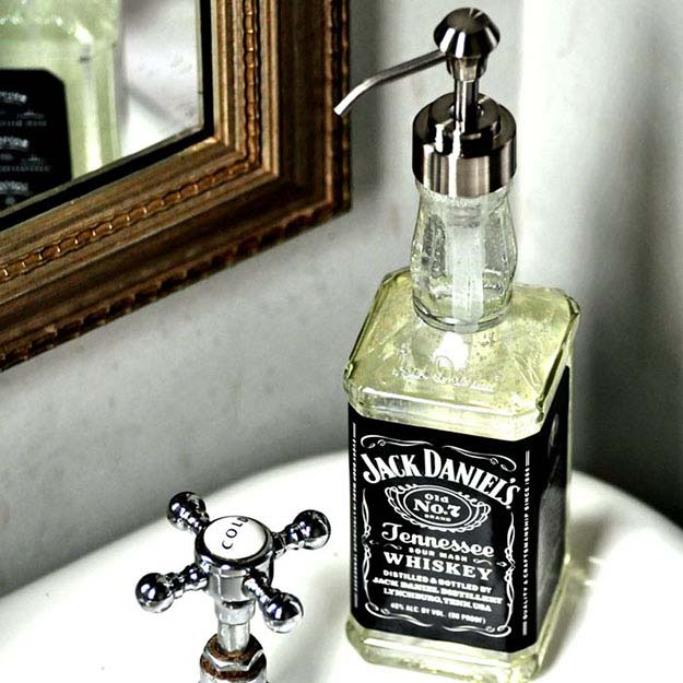 Rustic DIY Man Cave Ideas | Vintage Room Decor Ideas | DIY Soap Dispenser from Jack Daniels Bottle | DIY Projects and Crafts by DIY JOY at http://diyjoy.com/craft-ideas-diy-soap-dispensers