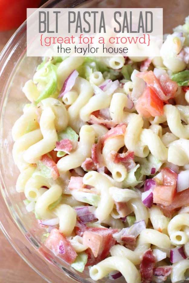 Best 4th of July Recipes and Backyard BBQ ideas - BLT Pasta Salad at http://diyjoy.com/best-4th-of-july-recipes-ideas