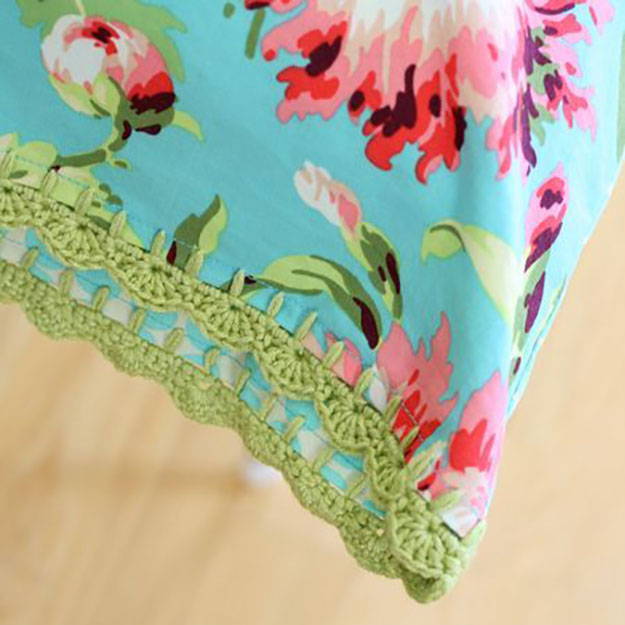 DIY Sewing Projects- Pillowcase Ideas - Crochet Pillowcase Sewing Tutorial at http://diyjoy.com/sewing-projects-diy-pillowcases-ideas