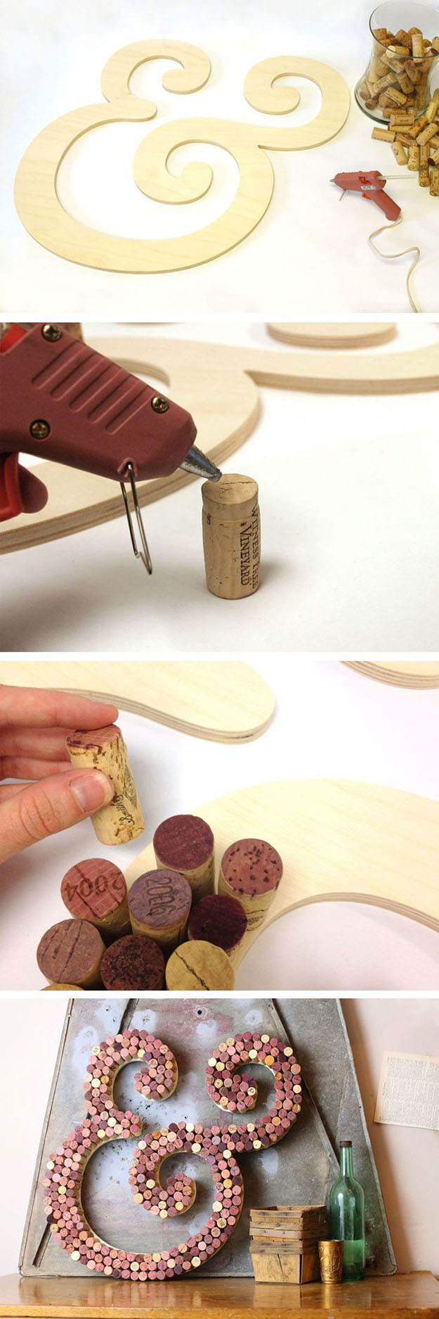 Easy Wine Cork DIY Wall Decor Projects - Wine Cork Letters - DIY Projects & Crafts by DIY JOY at http://diyjoy.com/diy-wine-cork-crafts-craft-ideas
