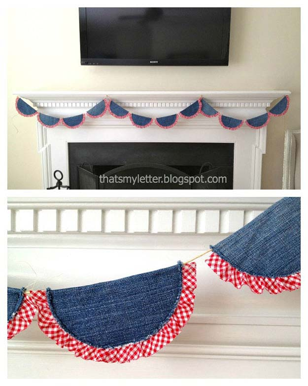 Easy Sewing Ideas for the Home | DIY Country Home Decor | DIY Bunting from Old Jeans | DIY Projects & Crafts by DIY JOY at http://diyjoy.com/upcycled-diy-projects-from-old-jeans