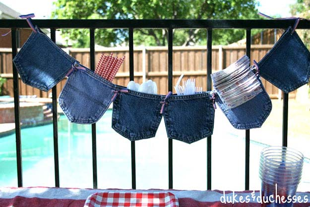 Easy DIY Party Ideas | Upcyclng Ideas for Old Jeans | DIY Garland for Entertaining | DIY Projects & Crafts by DIY JOY at http://diyjoy.com/upcycled-diy-projects-from-old-jeans