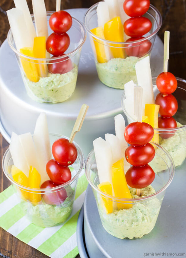 Summer Party Food Ideas | Veggies & Pesto Dip Recipe | DIY Projects and Crafts by DIY JOY at http://diyjoy.com/best-diy-party-food-ideas