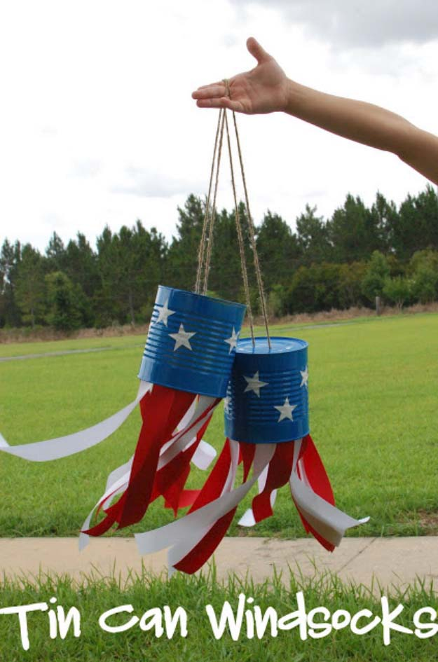 Rustic DIY Ideas With the American Flag | Patriotic Flag Country Crafts and  DIY Projects for the Home and Backyard | Patriotic Tin Can DIY Windsocks | http://diyjoy.com/diy-projects-decor-american-flag