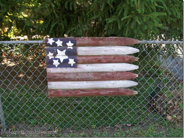 Rustic DIY Ideas With the American Flag | Patriotic Flag Country Crafts and  DIY Projects for the Home and Backyard | Rustic American Flag Bench Back from Old Picket Fence | http://diyjoy.com/diy-projects-decor-american-flag
