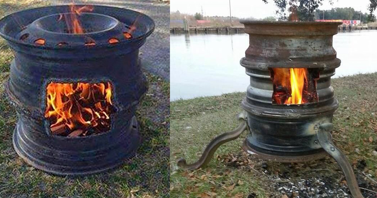 Repurposed Old Car Parts to DIY Fire Pit - Easy DIY Fire Pit Tutorials - DIY Projects & Crafts by DIY JOY at http://diyjoy.com/upcycling-diy-projects-car-parts