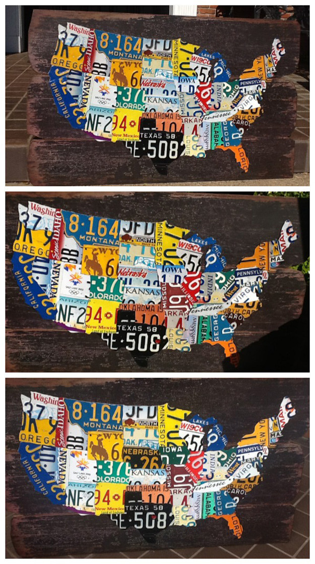Recycled Old Car Parts - Upcycled License Plate DIY Map - DIY Projects & Crafts by DIY JOY at http://diyjoy.com/upcycling-diy-projects-car-parts