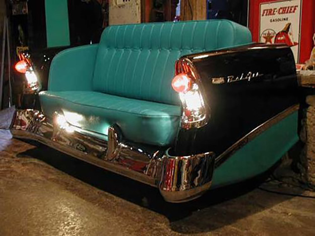 Upcycled Old Car Parts Furniture - Repurposed Sofa from Vintage Car Frame - DIY Projects & Crafts by DIY JOY at http://diyjoy.com/upcycling-diy-projects-car-parts