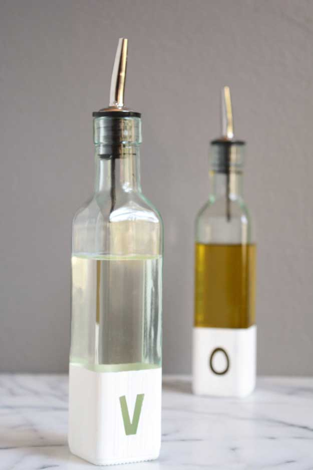 27 MORE Expensive Looking DIY Gifts. Crafts and DIY Gift Ideas for Him, for Her, for Family and Friends. Perfect for Birthday, Christmas, Mom and Dad. | Modern Oil and Vinegar Bottles | http://diyjoy.com/homemade-diy-gifts-pinterest