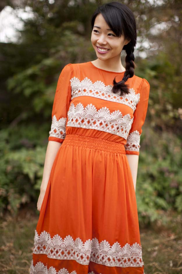 DIY Crafts You Can Make with Lace | Cool DIY Ideas for Fashion, Decor, Gifts, Jewelry and Home Accessories Made With Lace | Anthropologie Tangerine Flicker Lace Dress | http://diyjoy.com/diy-crafts-ideas-with-lace