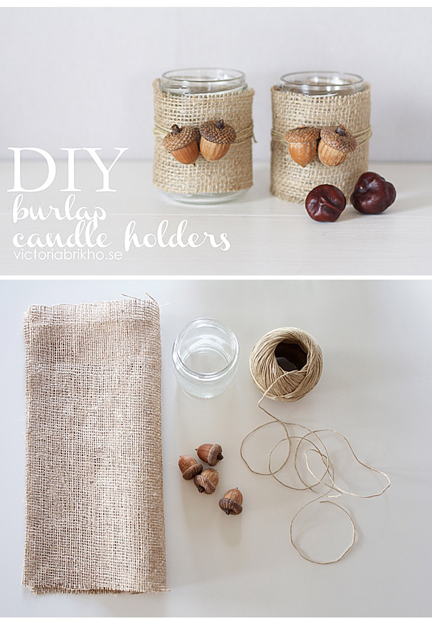 DIY Projects with Burlap and Creative Burlap Crafts for Home Decor, Gifts and More | Burlap Candle Holders |  http://diyjoy.com/diy-projects-with-burlap